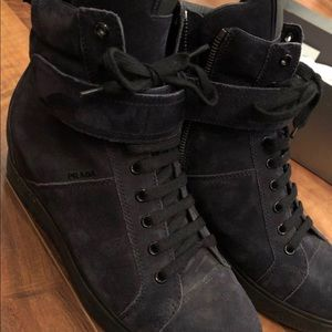Prada zip up wedge shoes